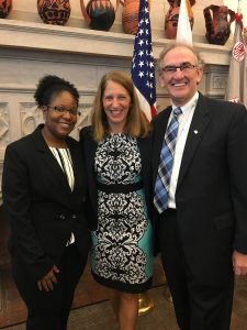 Dr. Lekeisha Terrell, Medical Director of Unity's School-Based Health Centers, Secretary Sylvia Burwell, and Vincent A. Keane, President and CEO of Unity Health Care